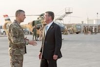 Defense Secretary Ash Carter speaks with Army Lt. Gen. Stephen Townsend, commander of Combined Joint Task Force Operation Inherent Resolve, before departing Irbil, Iraq, Oct. 23, 2016. DoD photo by Air Force Tech. Sgt. Brigitte N. Brantley