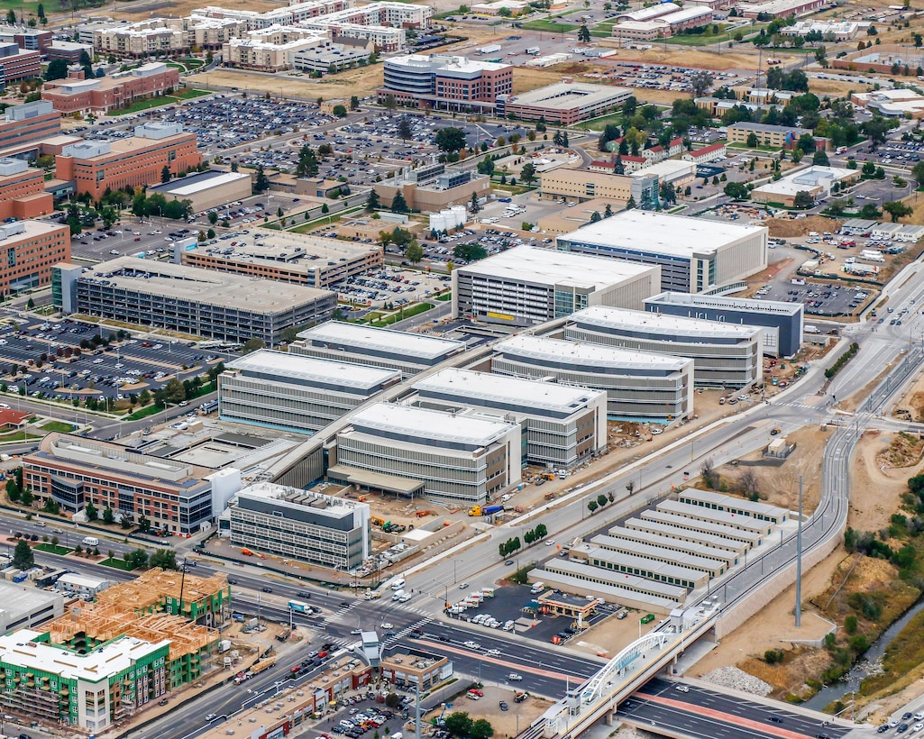 Aerial photo of the 12-building Department of Veteran Affairs replacement medical center under construction in Aurora, Colorado. The entire facility has been under U.S. Army Corps of Engineers' contract to Kiewit-Turner since November 2015. The project is on target for contract completion by January 2018.