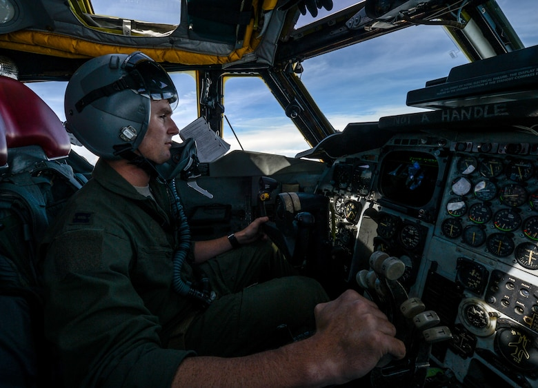 Capt. Lance Adsit, 20th Bomb Squadron pilot, observes a target during a simulated weapon release from the airspace above the Gulf of Mexico Oct. 13, 2016. The B-52 Stratofortress piloted by Adsit flew with another B-52 from Barksdale Air Force Base, La., and two B-1 Lancers from Dyess Air Force Base, Texas, as part of a weapons school integration exercise. (U.S. Air Force photo/Senior Airman Curt Beach)