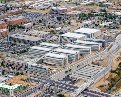 Aerial photo of the 12-building Department of Veteran Affairs replacement medical center under construction in Aurora, Colorado. The entire facility has been under U.S. Army Corps of Engineers' contract to Kiewit-Turner since November 2015.