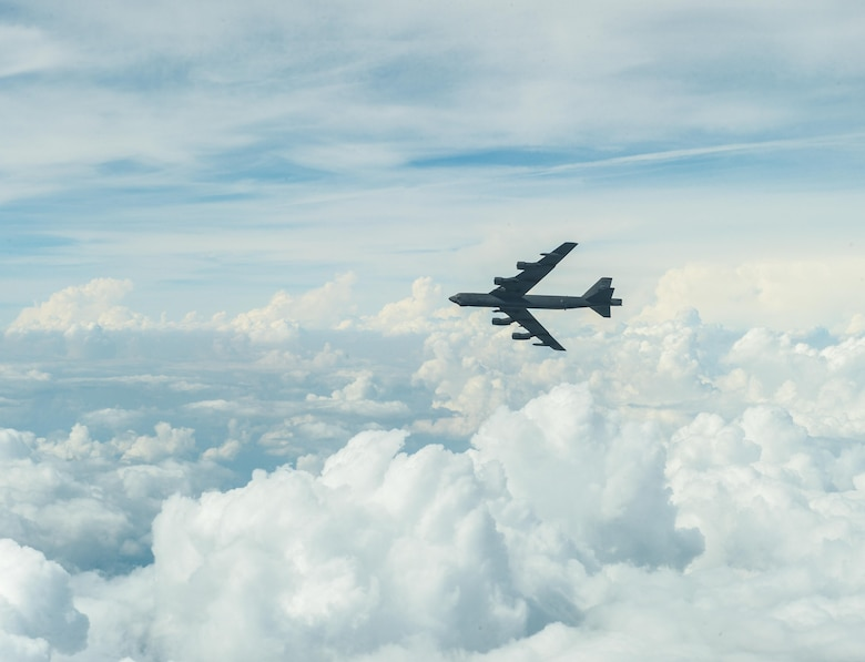 A B-52 Stratofortress from Barksdale Air Force Base, La., performs a turn at 28,000 feet above the Gulf of Mexico Oct. 13, 2016. The B-52 is a long-range, heavy bomber that can perform a variety of missions. The bomber is capable of flying at high subsonic speeds at altitudes up to 50,000 feet. It can carry nuclear or precision-guided conventional ordnance with worldwide precision navigation capability. (U.S. Air Force photo/Senior Airman Curt Beach)
