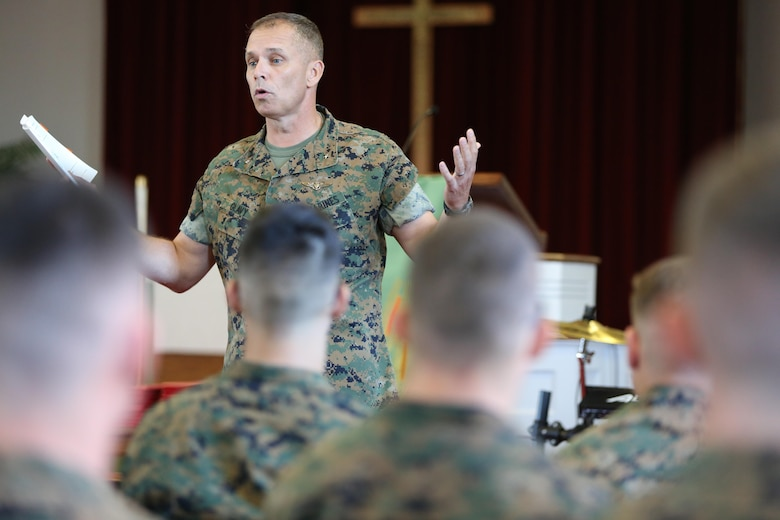 "Brig. Gen. Matthew Glavy addresses the Marines graduating from the Squadron Intelligence Training Certificate Course aboard Marine Corps Air Station Cherry Point, N.C., Oct. 21, 2016. The course was designed for intelligence Marines to give them a more in-depth look at how to operate in their job field aboard air stations.  ""Your job is not always about doing things right; it's also about doing the right thing,"" said Glavy. ""You can do something to the best of your ability, but is it ultimately in the best interest of achieving our goals? That is why this course is in place; to ensure that we do the right things, for the right reasons."" (U.S. Marine Corps photo by Lance Cpl. Mackenzie Gibson/Released)"