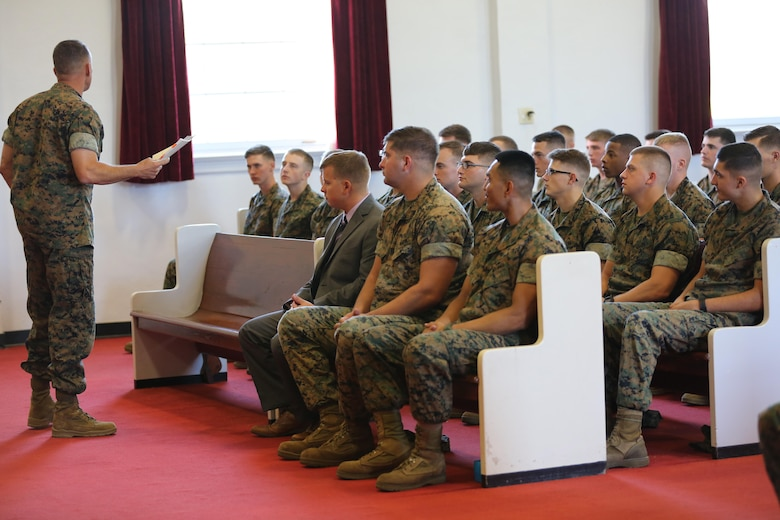 "Brig. Gen. Matthew Glavy addresses the Marines graduating from the Squadron Intelligence Training Certificate Course aboard Marine Corps Air Station Cherry Point, N.C., Oct. 21, 2016. The course was designed for intelligence Marines to give them a more in-depth look at how to operate in their job field aboard air stations in the Marine Corps.  ""Your job is not always about doing things right; it's also about doing the right thing,"" said Glavy. ""You can do something to the best of your ability, but is it ultimately in the best interest of achieving our goals? That is why this course is in place; to ensure that we do the right things, for the right reasons."" (U.S. Marine Corps photo by Lance Cpl. Mackenzie Gibson/Released)"