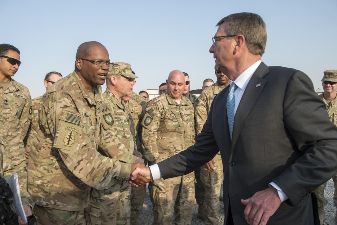 "Defense Secretary Ash Carter meets with soldiers assigned to the 101st Airborne Division during a visit to Irbil, Iraq, Oct. 23, 2016. DoD photo by Air Force Tech. Sgt. Brigitte N. Brantley<br/><br /><a target=""_blank"" href=""https://www.flickr.com/photos/secdef""> Click here to see more images on Secretary Carter's Flickr page. </a>"