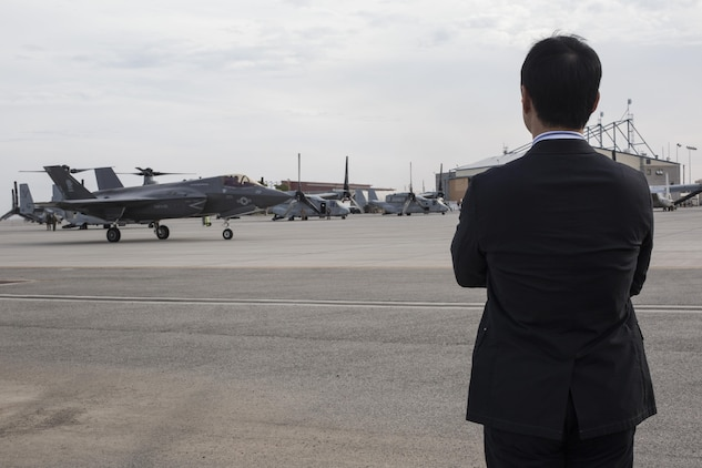 Yoshihiko Fukuda, mayor of Iwakuni City, Japan, observes an F-35B Lightning II at Marine Corps Air Station (MCAS) Yuma, Arizona, Oct. 24, 2016. The demonstration of the F-35B gave Fukuda a better understanding of the aircraft and its capabilities. This event helped Fukuda better understand the capabilities of Marine Fighter Attack Squadron (VMFA) 121.(U.S. Marine Corps photo by Cpl. Nathan Wicks)