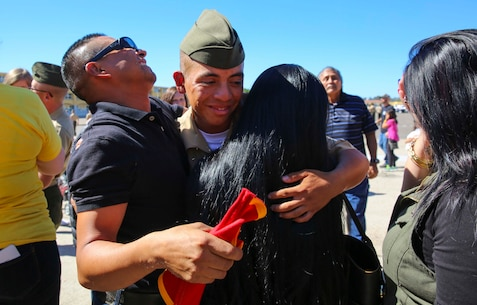A Marine from Echo Company, 2nd Recruit Training Battalion, hugs his loved ones after being released for liberty at Marine Corps Recruit Depot San Diego, Oct. 20. This is the first time they have seen their Marines since they arrived at the depot 13 weeks ago. Annually, more than 17,000 males recruited from the Western Recruiting Region are trained at MCRD San Diego. Echo Company is scheduled to graduate Oct. 21.