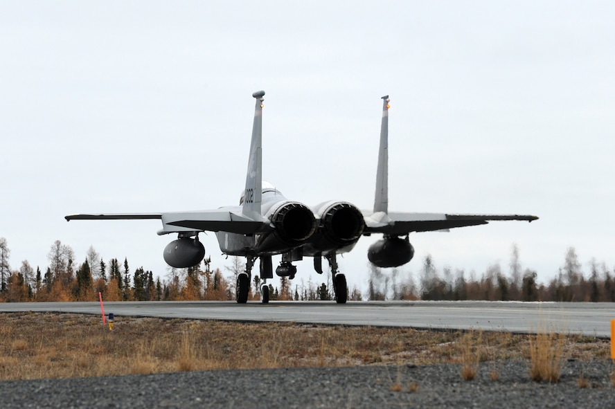 F-15 Eagles assigned to the 142nd Fighter Wing taxi for the trip home following Exercise Vigilant Shield 2017, Yellowknife, Northwest Territories, Oct. 21, 2016. During this exercise, forces supporting North American Aerospace Defense Command (NORAD) will deploy and conduct air sovereignty operations in the far north and the high Arctic demonstrating the ability to detect, identify and meet possible threats in some of the most remote regions in the world.  (U.S. Air National Guard photo by Senior Master Sgt. Shelly Davison, 142nd Fighter Wing Public Affairs).