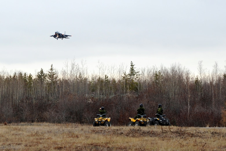 F-15 Eagles assigned to the 142nd Fighter Wing return from flight in support of Exercise Vigilant Shield 2017, Yellowknife, Northwest Territories, Oct. 20, 2016.  During this exercise, forces supporting North American Aerospace Defense Command (NORAD) will deploy and conduct air sovereignty operations in the far north and the high Arctic demonstrating the ability to detect, identify and meet possible threats in some of the most remote regions in the world.  (U.S. Air National Guard photo by Senior Master Sgt. Shelly Davison, 142nd Fighter Wing Public Affairs).
