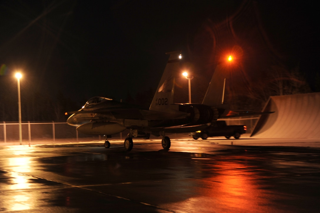 An F-15 Eagle assigned to the 142nd Fighter Wing taxis for flight in support of Exercise Vigilant Shield 2017, Yellowknife, Northwest Territories, Oct. 19, 2016.  During this exercise, forces supporting North American Aerospace Defense Command (NORAD) will deploy and conduct air sovereignty operations in the far north and the high Arctic demonstrating the ability to detect, identify and meet possible threats in some of the most remote regions in the world.  (U.S. Air National Guard photo by Senior Master Sgt. Shelly Davison, 142nd Fighter Wing Public Affairs)