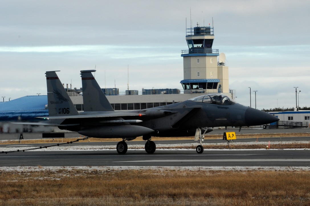 An F-15 Eagle assigned to the 142nd Fighter Wing performs an aircraft arresting barrier system test at the Yellowknife, Northwest Territories, Airport, Oct. 18, 2016.  The arresting barrier system is used in the event of an emergency where a fighter aircraft cannot stop on its own.  Members of the 142nd Fighter Wing are in Yellowknife to participate in Vigilant Shield 2017. The Vigilant Shield 2017 Field Training Exercise is an annual exercise sponsored by The North American Aerospace Defense Command and led by Alaskan NORAD Region, in conjunction with Canadian NORAD Region and Continental NORAD Region, who undertake field training exercises aimed at improving operational capability in a bi-national environment.   (U.S. Air National Guard photo by Senior Master Sgt. Shelly Davison, 142nd Fighter Wing Public Affairs