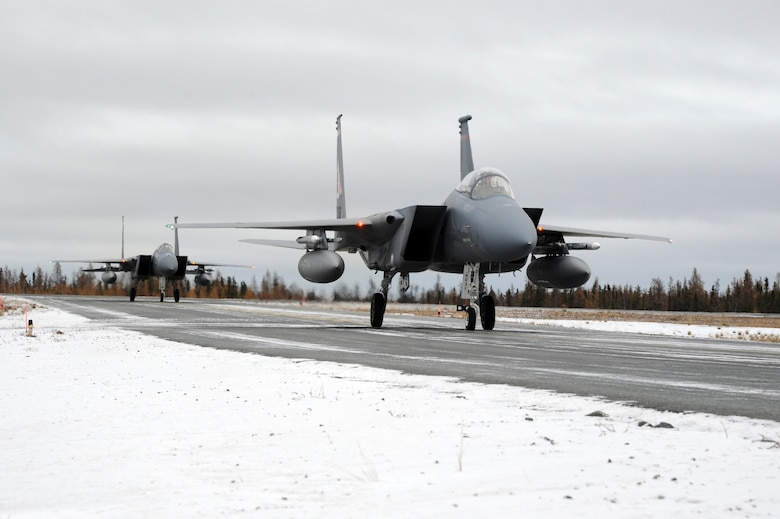 F-15 Eagles from the 142nd Fighter Wing arrive in Yellowknife, Northwest Territories, for Exercise Vigilant Shield 2017, Oct. 17, 2016. Vigilant Shield 17 represents a unique opportunity to practice and hone joint interoperability and cooperation skills between Canada and the United States in order to protect borders as well as national interests.  (U.S. Air National Guard photo by Senior Master Sgt. Shelly Davison, 142nd Fighter Wing Public Affairs).