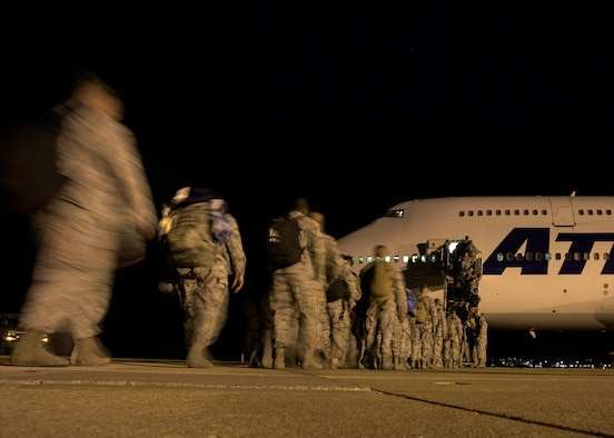 Airmen from the 137th Special Operations Wing deploy from Will Rogers Air National Guard Base in Support of Operation Freedom's Sentinel, October 19, 2016. Over 140 Airmen will deploy from WRANGB to nine different locations in Southwest Asia, the first major deployment for the 137 SOW as a special operations wing. (U.S. Air National Guard photo by Tech. Sgt. Caroline Essex)