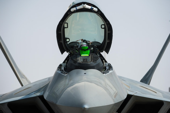 U.S. Air Force pilot prepares an F-22 Raptor for take off from an undisclosed location in Southwest Asia, Oct. 21, 2016. F-22 Raptors are one of several coalition airframes providing close air support to ground forces working to liberate the city of Mosul, Iraq. (U.S. Air Force photo by Senior Airman Tyler Woodward)