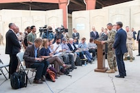 Secretary of Defense Ash Carter and U.S. Army Lt. Gen. Stephen Townsend, commander of Combined Joint Task Force-Operation Inherent Resolve, host a press conference at the task force's headquarters in Baghdad, Iraq, Oct. 22, 2016. (DoD photo by U.S. Air Force Tech. Sgt. Brigitte N. Brantley)