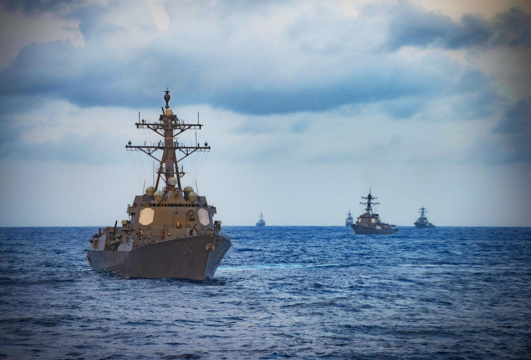 160315-N-UY653-161 ATLANTIC OCEAN (March 15, 2016) - Guided-missile destroyer USS Nitze (DDG 94), front, steams in formation with USS Stout (DDG 56), USS Mason (DDG 87), USS Monterey (CG 61) and USS Roosevelt (DDG 80). While at sea, the ships supported a live-fire event conducted as part of the Eisenhower Carrier Strike Group Composite Training Unit Exercise (COMPTUEX), the final certification event prior to deployment. (U.S. Navy photo by Mass Communication Specialist 3rd Class Ryan U. Kledzik/Released)