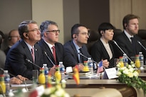 Defense Secretary Ash Carter attends a meeting in Paris of defense ministers of nations contributing to the campaign to defeat the Islamic State of Iraq and the Levant, Oct. 25, 2016. DoD photo by Air Force Tech. Sgt. Brigitte N. Brantley