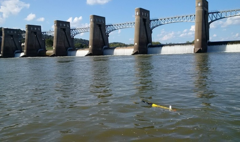 Thad Tuggle from the Huntington District's Water Resources Engineering Section deployed the EcoMapper Automated Underwater Vehicle to collect dissolved oxygen levels above and below the R.C. Byrd Lock and Dam. High dissolved oxygen levels can have a negative impact on aquatic life.  The EcoMapper uses GPS and acoustic Doppler to track its location while measuring a full suite of water quality parameters at multiple depths through the water column.