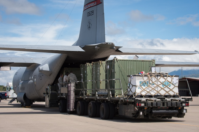 A C-130 Hercules from the Ohio Air National Guard provided airlift support by returning cargo from Haiti to Soto Cano Air Base, Honduras. Joint Task Force-Bravo personnel worked around the clock for 15 days straight providing airlift support carrying personnel and relief supplies to Hurricane Matthew-stricken Haiti and began returning to Honduras Oct. 16.