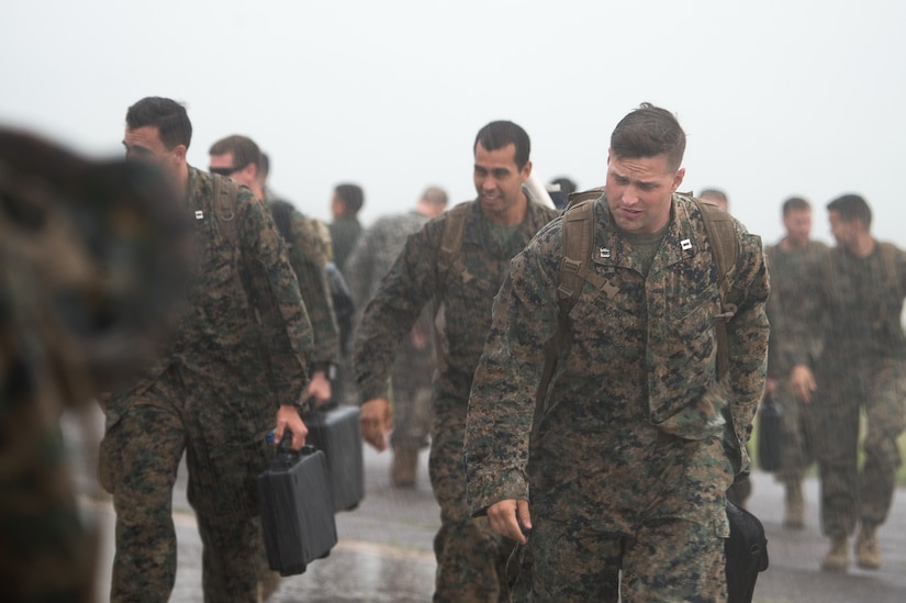 Approximately 140 personnel returned to Soto Cano Air Base, Honduras Oct. 19 in the pouring rain.  Joint Task Force – Bravo was mobilized for Hurricane Matthew relief efforts in Haiti after the storm hit the island. Joint Forces worked around the clock for 15 days providing airlift support and delivering relief supplies to the hardest hit area from the storm.