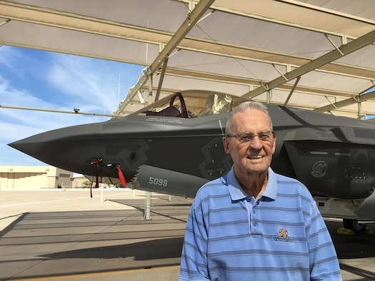 Retired Maj. Earl Conrad Jr., a World War II fighter pilot who flew the original P-38 Lightning, visited Luke Air Force Base Oct. 3, 2016, to get a glimpse of the F-35 Lightning II, the namesake of the legendary fighter aircraft which dominated the skies over the Pacific during his time in service.