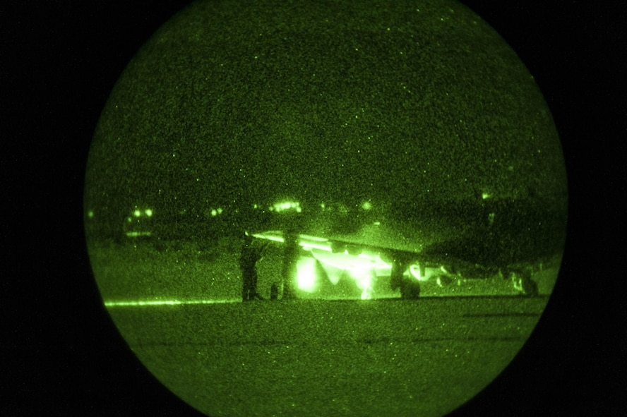 MC-130J aircrew and fuels personnel refuel a U-28A at a Forward Area Refueling Point during a Full Mission Profile exercise at White Sands Missile Range, N.M., Oct. 12, 2016.  FARPs are established and controlled landing areas that enable aircraft to refuel in austere or contested locations. (U.S. Air Force photo by Tech. Sgt. Manuel J. Martinez)