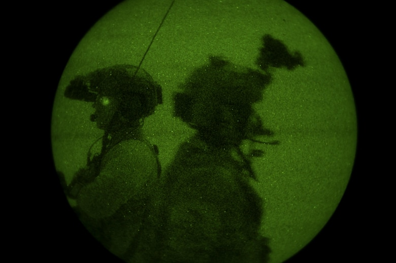 Special Tactics Airmen assigned to the 26th Special Tactics Squadron communicate with aircraft in their airspace during a Full Mission Profile exercise at White Sands Missile Range, N.M., Oct. 12, 2016.  The FMP was utilized to integrate special operations forces and foster tactical maturity through deliberate planning and execution of a force projection package and enable Special Tactics Airmen pre-deployment evaluation. (U.S. Air Force photo by Tech. Sgt. Manuel J. Martinez)