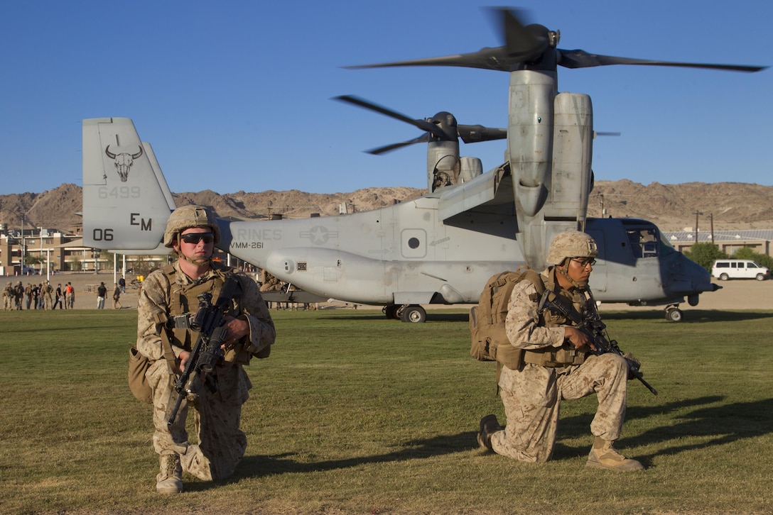 Marines with 2nd Battalion, 3rd Marine Regiment, provide security during a Non-combatant Evacuation Operation exercise aboard Marine Corps Air Ground Combat Center, Twentynine Palms, Calif., Oct. 14, 2016. (Official Marine Corps photo by Cpl. Connor Hancock/Released)