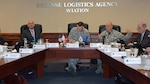 Defense Logistics Agency's Director Air Force Lt. Gen. Andy Busch (second from the left) met with DLA Aviation's senior leaders during the fiscal 2017 DLA Aviation Annual Operation Plan Review Oct. 14, 2016 at Defense Supply Center, Richmond, Virginia. DLA Aviation Commander Air Force Brig. Gen. Allan Day (second from right) opens the event by presenting a snapshot of the overall mission, and focus areas going forward into fiscal 2017. Also pictured are DLA Aviation's Deputy Commander Charlie Lilli (left) and DLA Finance Director Tony Poleo (right). (photo by Bonnie Koenig)