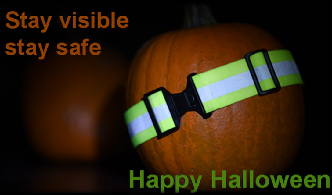 People are encouraged to have fun this Halloween, but to also be safe. Adding reflective tape and stripping to garments, costumes and trick-or-treat bags increases your visibility during nighttime. Motorists are also reminded to be cautious while driving. (U.S. Air Force photo illustration/Senior Airman Nick J. Daniello)