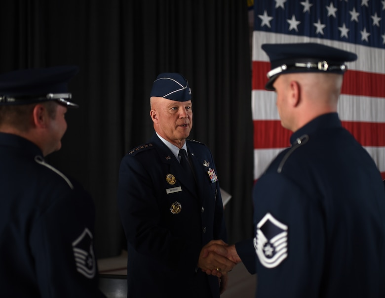 Gen. John Raymond speaks with Airmen shortly after taking charge of Air Force Space Command, Oct. 25, 2016 at Peterson Air Force Base, Colo. Raymond was previously the Deputy Chief of Staff for Operations, Headquarters Air Force. (U.S. Air Force photo/Airman 1st Class Dennis Hoffman)