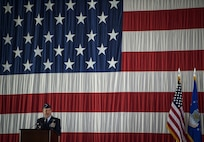 Air Force Chief of Staff Gen. David L. Goldfein speaks during the Air Force Space Command change of command ceremony at Peterson Air Force Base, Colo., Oct. 25, 2016. Minutes later, Gen. John Raymond took command of AFSPC. (U.S. Air Force Photo/Tech. Sgt. David Salanitri)