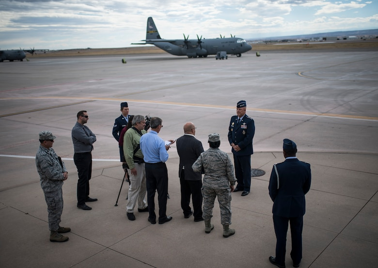 Gen. John Raymond takes questions from the media during his first press conference as commander of Air Force Space Command, Oct. 25, 2016 at Peterson Air Force Base, Colo. Raymond was previously the Deputy Chief of Staff for Operations, Headquarters Air Force. (U.S. Air Force Photo/Tech. Sgt. David Salanitri)