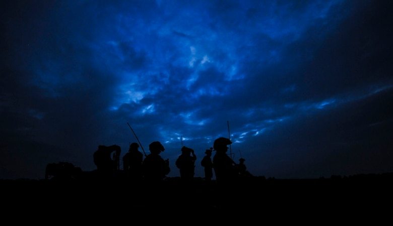 U.S. Air Force combat controllers assigned to the 1st Special Operations Squadron, 320th Special Tactics Squadron and Republic of Korea (ROK) 255th Special Operations Squadron, pull security and establish a line of communication at Kunsan Air Base, Republic of Korea, Oct. 22, 2016. Members from the 320th STS and 1st SOS worked with the ROK 255th SOS to enhance U.S. and ROK Air Force Special Operations Forces' capabilities. They conducted infiltration methods, jump clearing team operations, airfield establishment, aircraft control and close air support familiarization. (U.S. Air Force photo by Senior Airman Colville McFee/Released)