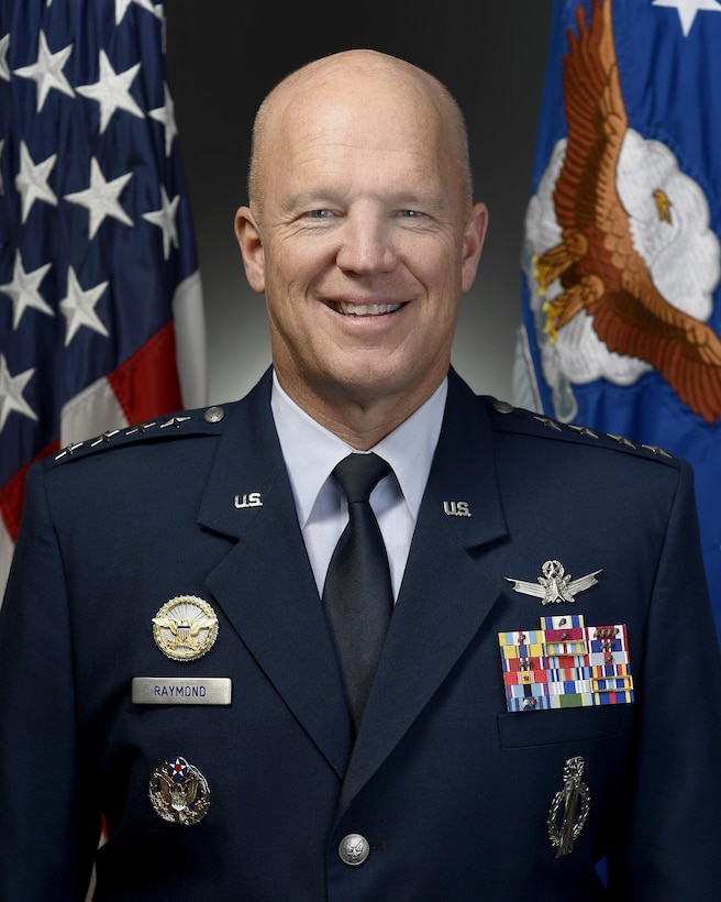 """Official portrait of Air Force Gen. John W. """"Jay"""" Raymond, for his position as commander, Air Force Space Command, Peterson Air Force Base, Colo., taken Oct. 14, 2016.  U.S. Air Force photo/Scott M. Ash"""