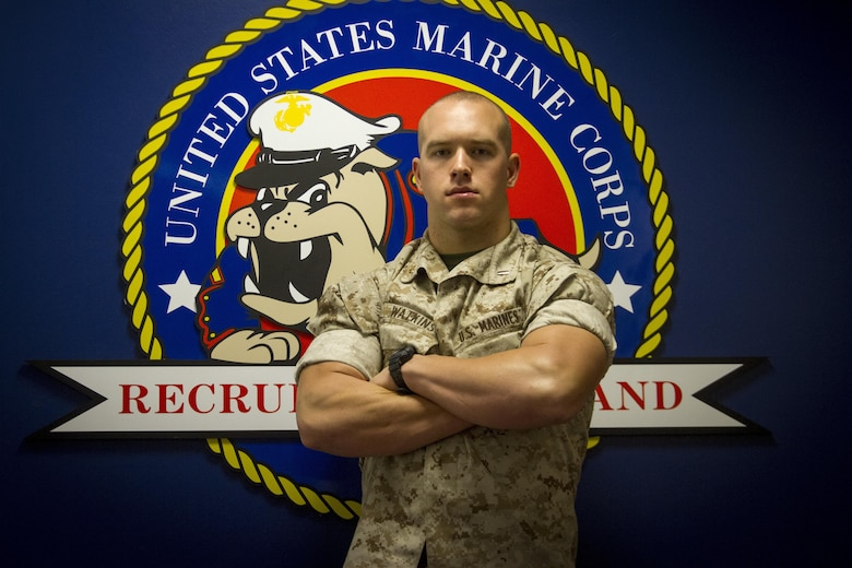 Second Lieutenant Tyler R. Watkins poses for a photo at Marine Corps Recruiting Command aboard Marine Corps Base Quantico, Va., Oct. 26, 2016. Watkins is a former NCAA Division I student athlete who graduated Officer Candidates School, Aug. 6, 2016. Due to injuries sustained during OCS, he is temporarily assigned to the Plans and Research section at MCRC. Watkins hopes to return to training in March 2017. (U.S. Marine Corps Photo by Lance Cpl. Shaehmus Sawyer/Released)