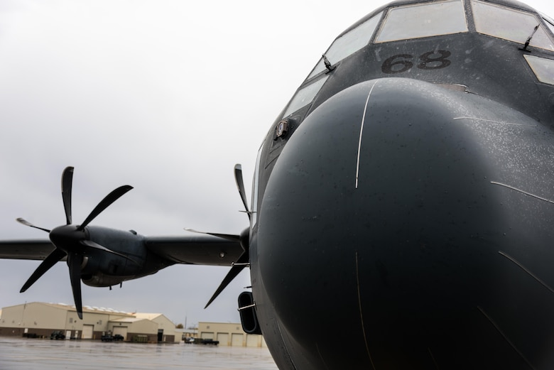 A Royal Australian Air Force C-130J Hercules rests on the flightline at Mountain Home Air Force Base, Idaho, Oct. 23, 2016. The RAAF is looking to make annual visits to the base in order to use the nearby Saylor Creek Training Range. (U.S. Air Force photo by Senior Airman Connor J. Marth/Released)