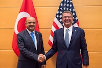Defense Secretary Ash Carter meets with Turkish Defense Minister Fikri Işık at NATO headquarters in Brussels, Oct. 26, 2016. DoD photo by Air Force Tech. Sgt. Brigitte N. Brantley<br /><br /><a target=&quot;_blank&quot; href=&quot;https://www.flickr.com/photos/secdef&quot;>