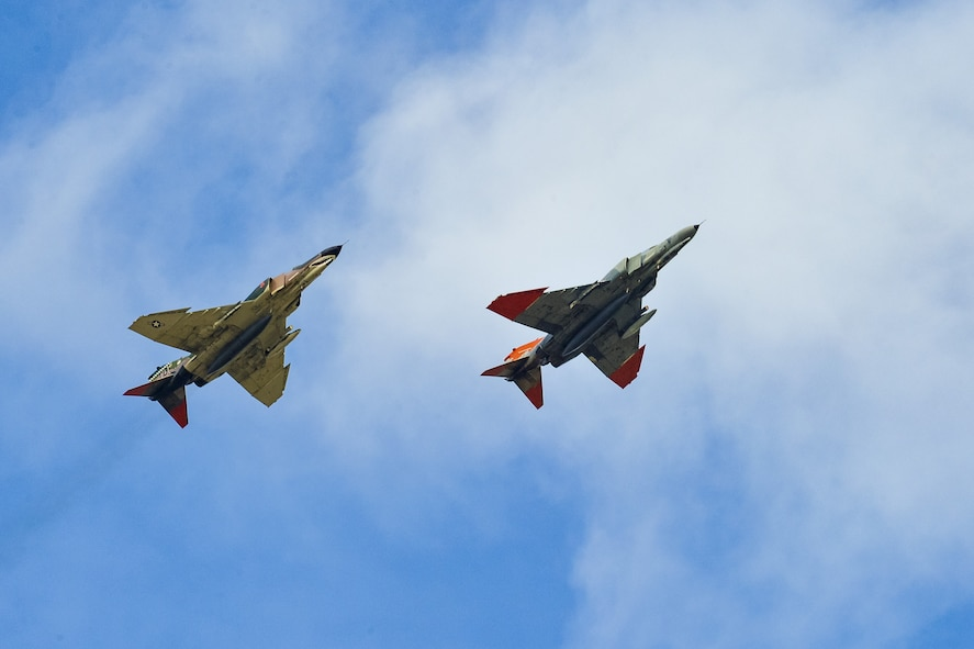 QF-4 Aerial Target aircraft piloted by Jim Harkins, left, and Lt. Col. Ron King, both from the 82nd Aerial Targets Squadron, Detachment 1, Holloman Air Force Base, New Mexico, perform a flyby Oct. 25 at Hill Air Force Base. (U.S. Air Force photo by R. Nial Bradshaw)