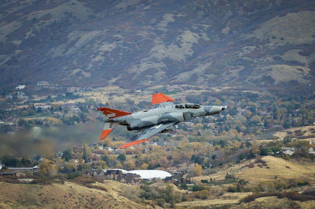 A QF-4 Aerial Target aircraft in manned configuration, piloted by Lt. Col. Ron King, 82nd Aerial Targets Squadron, Detachment 1 commander, Holloman Air Force Base, New Mexico, performs a flyby at Hill Air Force Base, Oct. 25. (U.S. Air Force photo by R. Nial Bradshaw)