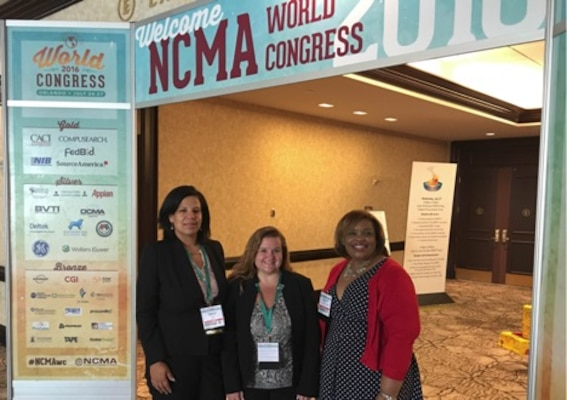 Johanna Akinfenwa, left, a contracts group team lead with Defense Contract Management Agency International in Houston, Texas, stands with Jennifer Quinones, Defense Contract Audit Agency deputy assistant director for policy and plans; and Cassandra McDuff, Defense Finance Accounting Service Program Coordination Division chief at the National Contract Management Agency World Congress in Orlando, Florida. The three presented a breakout session on contract closeout for cost-type contract after Akinfenwa found that contract closeout was missing from the annual conference training schedule. (Photo courtesy of Babatunde Akinfenwa)