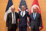 Defense Secretary Ash Carte, center, meets with French Defense Minister Jean-Yves Le Drian, left, and Turkish Defense Minister Fikri Işık at NATO headquarters in Brussels, Oct. 26, 2016. The three defense leaders discussed the effort in Iraq and Syria to counter the Islamic State of Iraq and the Levant. DoD photo by Air Force Tech. Sgt. Brigitte N. Brantley