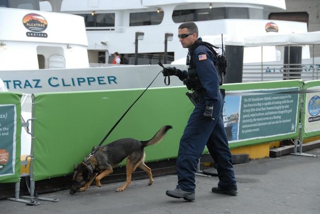 A Coast Guard Petty Officer K-9 handler at Maritime Safety and Security Team San Francisco, conducts a security sweep of the Alcatraz Island ferry pier with his dog. The Maritime Safety and Security Team members were brought in to conduct security sweeps of ferries entering and departing San Francisco during Fleet Week.