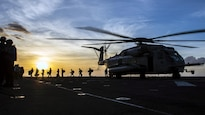 <strong>Photo of the Day: Oct. 27, 2016</strong><br/><br />Marines depart a CH-53E Super Stallion aboard the USS Makin Island in the Pacific Ocean, Oct. 22, 2016. The amphibious assault ship is supporting the Navy's maritime strategy in the U.S. 3rd Fleet area of responsibility. The helicopter is assigned to Marine Medium Tiltrotor Squadron 163. Navy photo by Seaman Devin M. Langer<br/><br /><a href=&quot;http://www.defense.gov/Media/Photo-Gallery?igcategory=Photo%20of%20the%20Day&quot;> Click here to see more Photos of the Day. </a>
