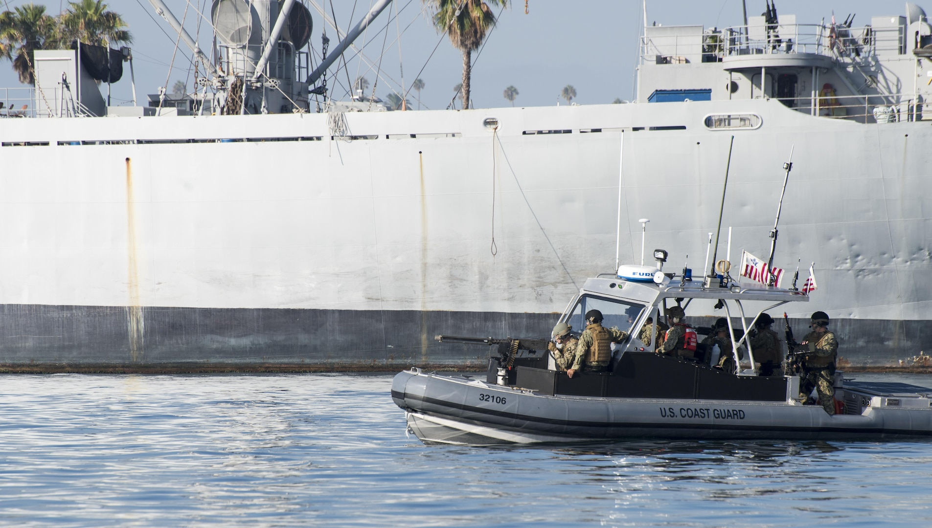 Members of Coast Guard Port Security Unit 311 based in San Pedro, conducted a military training exercise in the Port of Los Angeles. (U.S. Coast Guard Photo by Petty Officer 3rd Class Andrea Anderson)
