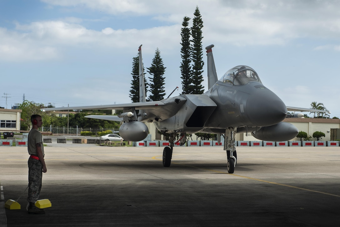 A 44th Fighter Squadron F-15 Eagle parks on the flightline Oct. 26, 2016, at Kadena Air Base, Japan. Aircraft from the 44th FS returned to Kadena after more than three months away for training. (U.S. Air Force photo by Airman 1st Class Corey M. Pettis/Released)