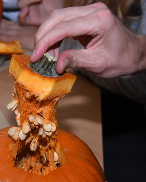Staff Sgt. Michael Sterchi, 700th Airlift Squadron loadmaster, takes a piece from a pumpkin he is carving with students at Elementary School No. Nine in Gniezno, Poland, Oct. 19, 2016. Pumpkin carving was one of several activities the Airmen participated in on a cultural orientation visit to the school while working with the Polish air force during Aviation Detachment 17-1 in support of Operation Atlantic Resolve. (U.S. Air Force photo by Staff Sgt. Alan Abernethy)