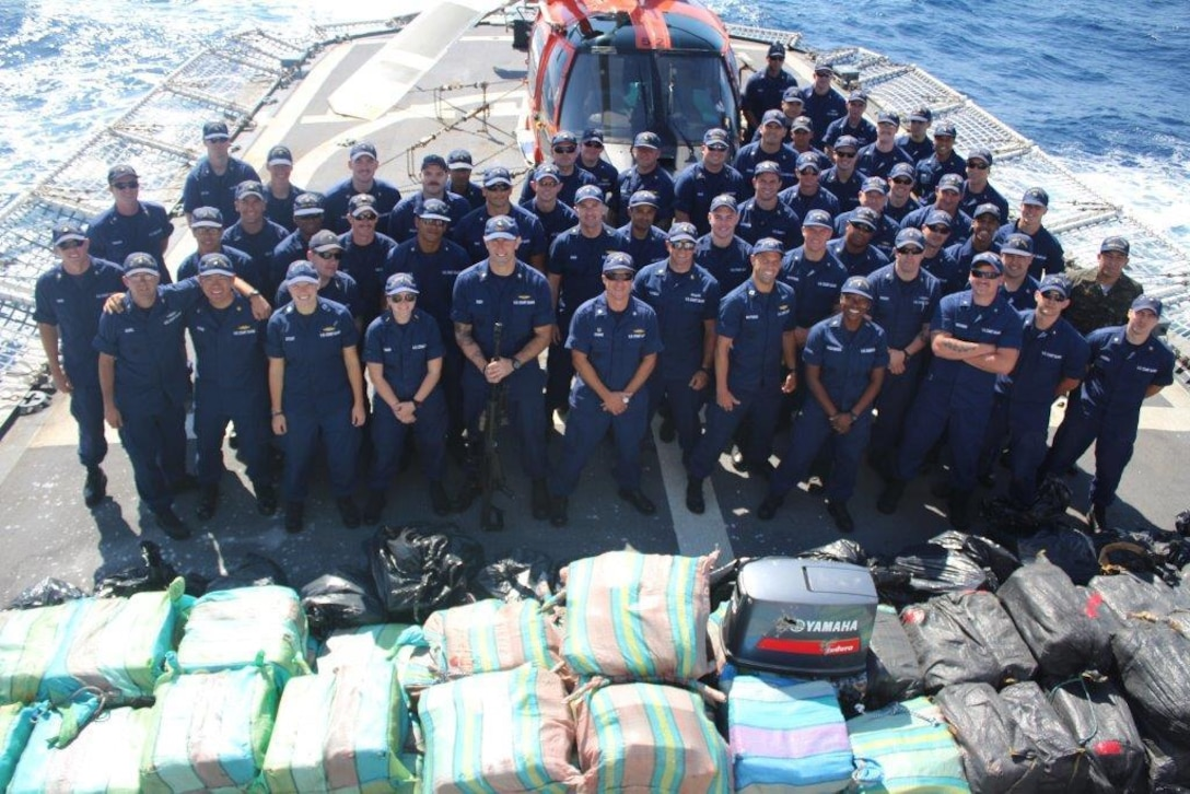 Coast Guard Cutter Valiant crew seized approximately $141 million worth of contraband. These counter-drug interdictions were carried out as part of Operation Martillo, an international operation focused on sharing information and bringing together air, land, and maritime assets from the U.S. Department of Defense, the Department of Homeland Security, and Western Hemisphere and European partner nation agencies to counter illicit trafficking. (U.S. Coast Guard photo/CGC Valiant)