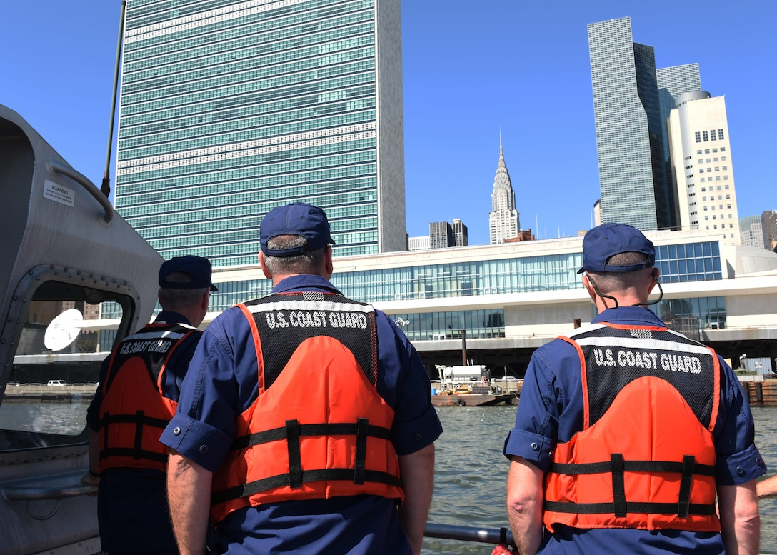 The Coast Guard provided security in the East River in support of the General Assembly of the UN. (U.S. Coast Guard photo by Petty Officer 3rd Class Steve Strohmaier)