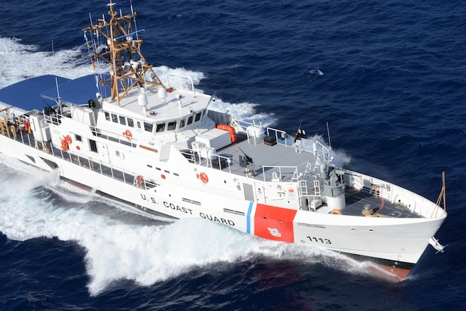 The 154-foot long Coast Guard Cutter Richard Dixon demonstrates it's speed off the coast of Florida. The Sentinel-class fast response cutter is the new Coast Guard patrol boat designed for missions including drug and migrant interdiction; ports, waterways and coastal security; fishery patrols; search and rescue; and national defense. Coast Guard Cutter Richard Dixon is homeported in Puerto Rico and has a beam of 25 feet and a maximum sustained speed of more than 28 knots. (U.S. Coast Guard photo by Petty Officer 3rd Class Mark Barney)