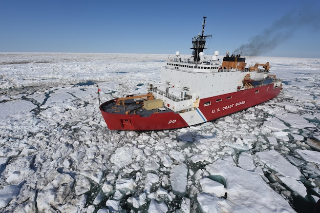 The Coast Guard Cutter Healy patrols the Arctic Ocean during a Coast Guard Research and Development Center joint civil and federal search and rescue exercise near Oliktok Point, Alaska. The Healy is a 420-foot polar icebreaker homeported in Seattle. (U.S. Coast Guard photo by Petty Officer 2nd Class Grant DeVuyst)